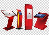 Four Red Promotional Interactive Information Kiosk, Advertising Display, Terminal Stand, Touch Scree poster