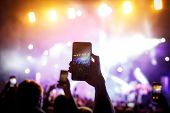 Hand With A Smartphone Records Live Music Festival, Live Concert, Live Concert poster