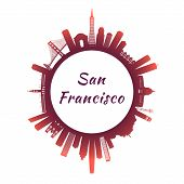 San Francisco Skyline With Colorful Buildings. Circle Style. Vector Illustration. poster