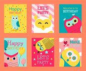 Owl Set Of Birthday Cards Vector Illustration. Welcome To My Birthday. Make A Wish. Cute Cartoon Wis poster