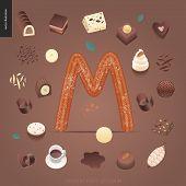 Dessert Font - Letter M - Modern Flat Vector Concept Digital Illustration Of Temptation Font, Sweet  poster