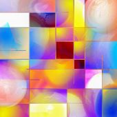 Colorful abstract composition. Mondrian style inspired. 3D rendering poster