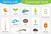 Scavenger Hunt, Spring Walk, Different Colorful Pictures For Children, Fun Education Search Game For poster