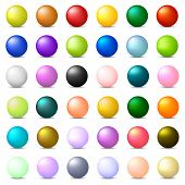 Collection Of 36 Colorful Realistic Spheres Isolated On White Background. Glossy Shiny Balls. 3d Col poster