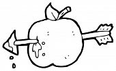 arrow shot though apple cartoon (raster version)