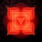 Muladhara Chakra Colorful Glowing Symbol With Mandala Background. Spiritual Meditation Element Vecto poster