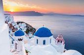 Santorini, Greece. Oia Village At Sunrise, Santorini Island. poster