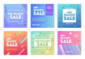 Set Of Colorful Banners With Abstract Geometric Pattern For Mid Season Sale. Promo Post Design Templ poster