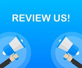 Review Us! User Rating Concept. Review And Rate Us Stars. Business Concept. Vector Stock Illustratio poster