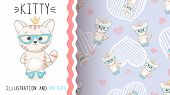 Cute Princess Kitty - Seamless Pattern. Hand Draw poster