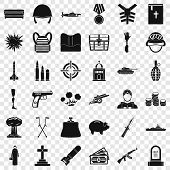 War Army Icons Set. Simple Style Of 36 War Army Vector Icons For Web For Any Design poster