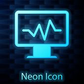 Glowing Neon Computer Monitor With Cardiogram Icon Isolated On Brick Wall Background. Monitoring Ico poster