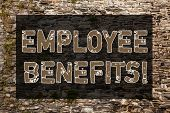 Handwriting Text Writing Employee Benefits. Concept Meaning Indirect And Non Cash Compensation Paid  poster