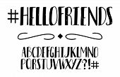 Vector Black And White Modern Stylized Font And Alphabet. Isolated Lettering Text. Handwritten Alpha poster