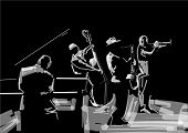 Jazz Band. Black And White Musical Illustration. Trombonist, Saxophone Player, Pianist, Contrabass P poster