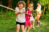 Group Of Happy Children Playing Tug Of War Outside On Grass. Kids Pulling Rope At Park. poster