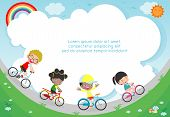 Happy Kids On Bicycles, Child Riding Bike, Healthy Cycling With Kids In Park, Group Of Kids Biking O poster