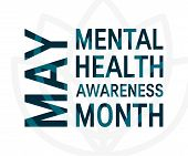 Mental Health Awareness Month Concept. Square Typography Design, Vector poster