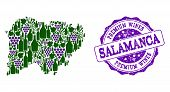 Vector Collage Of Grape Wine Map Of Salamanca Province And Purple Grunge Seal For Premium Wines Awar poster