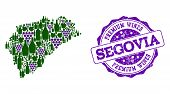 Vector Collage Of Grape Wine Map Of Segovia Province And Purple Grunge Stamp For Premium Wines Award poster