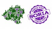 Vector Collage Of Grape Wine Map Of Soria Province And Purple Grunge Seal For Premium Wines Awards.  poster