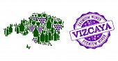Vector Collage Of Grape Wine Map Of Vizcaya Province And Purple Grunge Seal For Premium Wines Awards poster