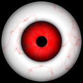 foto of gruesome  - red creepy scary eye over black great for halloween  - JPG