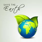 Save the earth concept with globe and green leaves.