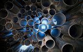 stock photo of pipeline  - Metal tubes with light - JPG