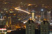 pic of constantinople  - Istanbul Cityscape and Bosphorus Bridge at Night - JPG