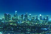 Постер, плакат: Горизонты города Лос Анджелес в ночное время