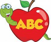 picture of maggot  - Happy Worm In Red Apple With Glasses And Leter ABC - JPG