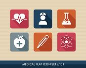 stock photo of atom  - Colorful medical health care flat icon setwellness assistance web apps - JPG