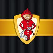 image of firehose  - Service fireman cartoon law gold badge icon - JPG