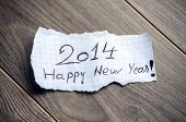 stock photo of wood pieces  - Happy new Year 2014  - JPG