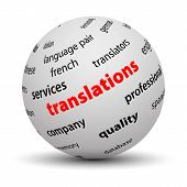 stock photo of dtp  - Translations concept words in tag cloud on 3d sphere with white background - JPG