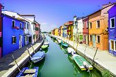 Venice Landmark, Burano Island Canal, Colorful Houses And Boats, Italy poster