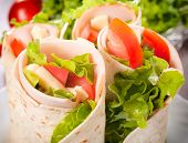 pic of sandwich wrap  - Tortilla wrap with turkey and vegetables - JPG