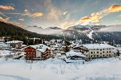 stock photo of italian alps  - Ski Resort of Madonna di Campiglio in the Morning Italian Alps Italy - JPG