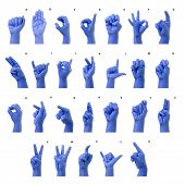stock photo of nonverbal  - Little Finger Spelling the Alphabet in American Sign Language  - JPG