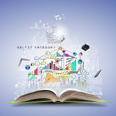 stock photo of idealistic  - Opened book with business sketches and concept icons - JPG