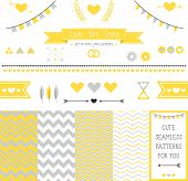 stock photo of chevron  - Set of elements for wedding design - JPG