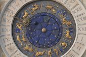 stock photo of piazza  - Beautiful zodiac clock at the Piazza San Marco  - JPG