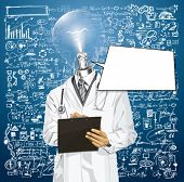 Idea medical concept. Vector lamp head doctor man writing something with marker on clipboard