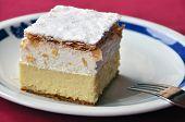 stock photo of custard  - vanilla and custard cream cake on a plate - JPG