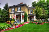 picture of english cottage garden  - Victorian style cottage and garden in Goderich Canada - JPG