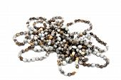 stock photo of zulu  - isolated collection of ethnic hand made Zulu bead necklaces - JPG