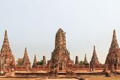 picture of gautama buddha  - Ancient Temple Wat Chaiwatthanaram of Ayutthaya Thailand - JPG