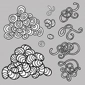 Grunge textures vector set with worms, eggs and larva