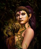 image of dragon head  - 3d computer graphics of a fairy with dragon skin tattoo - JPG